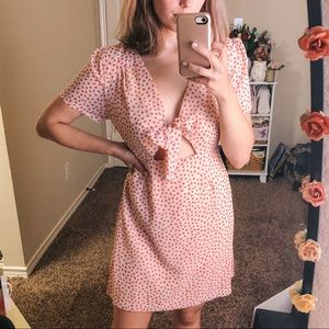 Heart Print Tie Front Dress